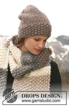 Completo formato da: cappello DROPS a maglia rasata e sciarpa a grana di riso con strisce con 1 capo di Polaris o 2 capi di Andes. Modello gratuito di DROPS Design.