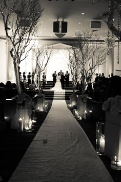 Black and white wedding with manzanita trees by It's Your Party