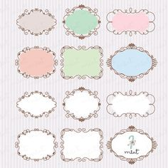24 Decorative Frames Clipart - Digital Clip art for Scrapbooking, Printable, Photo card, Invitation - BUY 1 GET 1 FREE. $5.00, via Etsy.