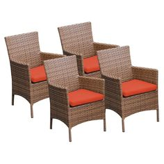 TK Classics Laguna Outdoor Dining Chairs - Set of 4 with 8 Cushion Covers Tangerine / Wheat - TKC093B-DC-2X-TANGERINE