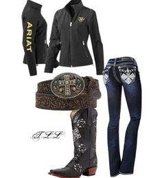 A fashion look from February 2014 featuring ariat jackets, creased jeans and real leather boots. Browse and shop related looks. Cowgirl Style Outfits, Cute Country Outfits, Country Wear, Country Girl Style, Country Fashion, Western Outfits, Cute Outfits, Rodeo Outfits, Lazy Outfits