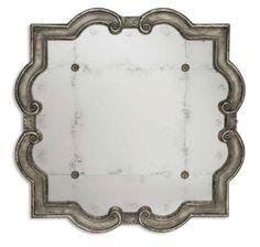 Antique Silver Leaf & Rosette Mirror