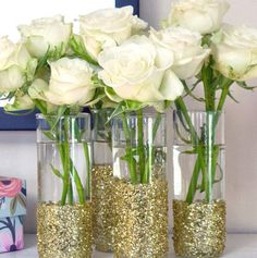 Flowers with gold glitter