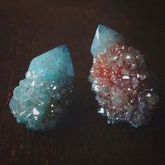 under-colors:  Aqua Aura Quartz Crystals on We Heart It.