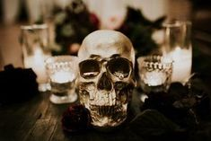 This Glam Franciscan Gardens Wedding Takes 'Til Death Do Us Part to the Next Level Whimsical Halloween, Halloween Skull, Halloween Decorations, Wedding Decorations, Halloween Wedding Flowers, Classy Halloween Wedding, Garden Wedding, Fall Wedding, Franciscan Gardens