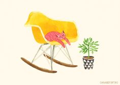 # yellow eames rocking chair and a cat by oana befort