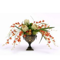 Dendrobium orchids with proteas in urn - Artificial Flowers -   1001 Artificial Flowers516.00