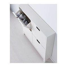 IKEA - STÄLL, Schuhschrank 4 Fächer, weiß, , Für schnelle Ordnung, gute Übersicht über Schuhe und mehr Platz im Flur.Hier bekommen Schuhe den Platz und die Belüftung, die sie brauchen, um lange präsentabel und angenehm tragbar zu bleiben.Beine nur an der Vorderseite - dadurch kann der Schrank über der Fußleiste direkt an der Wand stehen.