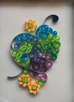 Quilled heart and flowers  wall art by Especially4UHandmade