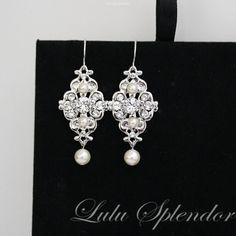 Bridal Earrings Swarovski Pearl and Rhinestone Bridesmaid Earrings Vintage style Wedding Earrings Wedding Jewelry MINI LEILA