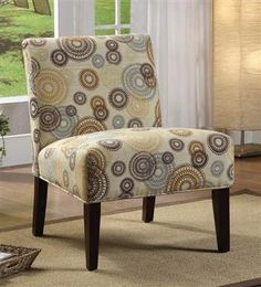 Aberly Espresso Wood Fabric Polyester Armless Accent Chair