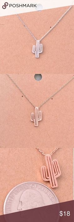 """Cactus Necklace Very cute! I'm really into these small necklaces for some reason. Silver tone mini cactus pendant necklace. Short necklace about 16"""" chain. Also available in rose gold and gold tone. This item is available! Jewelry Necklaces"""