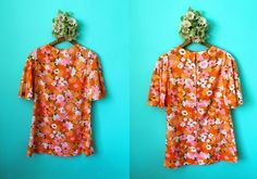 Vintage VTG VG 1960's Neon Print Flower Dress with Bell Sleeves Women's Mini Dress Bohemian Retro Extra Small Metal Zipper Cotton by foxandfawns on Etsy