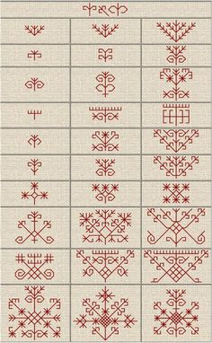 Folk Embroidery Patterns Latvju rakstu zimes - J. Kasuti Embroidery, Folk Embroidery, Cross Stitch Embroidery, Embroidery Patterns, Cross Stitch Patterns, Red Work Embroidery, Embroidery Online, Indian Embroidery, Ethno Tattoo
