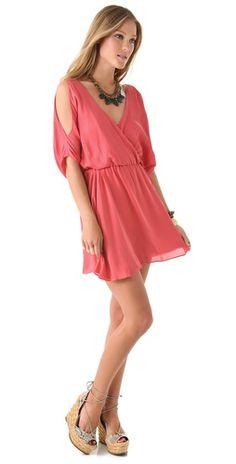 Haute Hippie Cold Shoulder Dress in Grapefruit $445