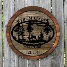 WINE LID COUNTRY DEER SCENE PERSONALIZED ROUND METAL SIGN MONOGRAMMED