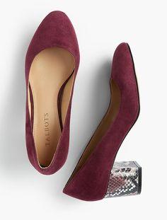 Isa Suede & Exotic-Print Block-Heel Pumps | Talbots