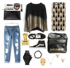 """""""black & gold"""" by kaitlyngibson on Polyvore featuring Casetify, adidas, Bobbi Brown Cosmetics, Vans, ki-ele, Wanderlust + Co, Alexander McQueen and Moschino"""