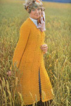 PDF crochet coat jacket long vintage crochet pattern pdf instant download pattern only pdf 1970s