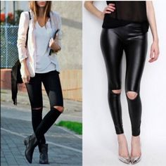MCKINNLEY cut out slick leggings - BLACK CUTOUT KNEE FAUX LEATHER LEGGINGS. 92% POLYESTER 8% SPANDEX. MADE IN USA. AVAILABLE IN BURGUNDY & BLACK NO TRADE, PRICE FIRM Bellanblue Pants Leggings