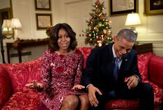 """""""Lawrence Jackson captured the President busting out in laughter as he and the First Lady recorded a holiday video message in the Map Room of the White House."""" (Official White House Photo by Lawrence Jackson)"""