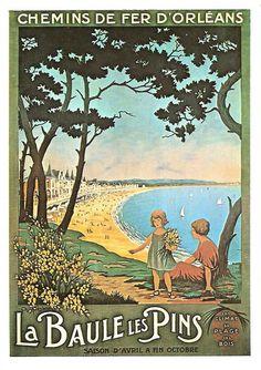 """Affiche retro vintage """"La Baule les Pins"""" - Reproduction d'une affiche des Chemins de fer d'Orleans - années 30 - Ch. CRESBRON"""