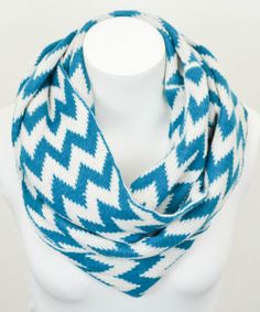 Teal & White Zigzag Infinity Scarf