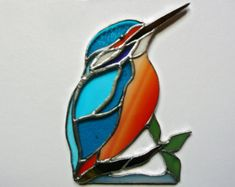 Blue bird stained glass window corner decor / bottom right