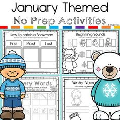 January No Prep Activity Pack - Perfect crafts and activities for January and Winter books including: There was an Old Lady Who Swa - Sneezy The Snowman, Snowmen At Night, Kindergarten Blogs, Writing Lines, Teacher Tools, Classroom Tools, Beginning Sounds, King Jr, Winter Theme