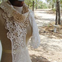 Scarf Shabby Chic Off White Ecru  Cotton Lace by TerrificCreations, $38.00