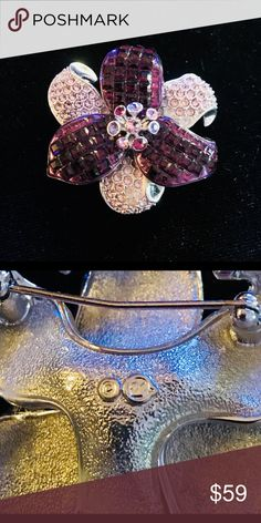 Swarovski Authentic Vintage Retired Brooch This is a Swarovski Flower Brooch with purple crystals. Swarovski Other