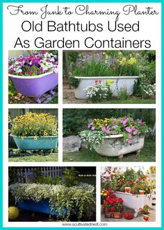 Using An Old Bathtub As A Container In Your Garden Time to dream about your garden for next year. How about upcycling an old bathtub as a container? Here are some wonderful ideas for using an old bathtub as a charming container in your cottage garden. Garden Bathtub, Old Bathtub, Outdoor Bathtub, Bathtub Ideas, Bathtub Paint, Cast Iron Bathtub, Container Gardening, Gardening Tips, Organic Gardening