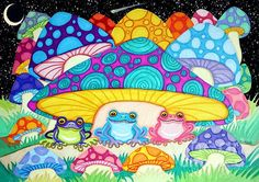 Happy frogs under a starry sky