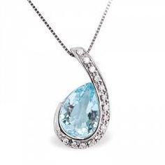 Riddle's Jewelry Ladies Aquamarine and Diamond Pendant in White Gold (06108346)