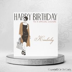 Luxurious Birthday Card - Shopping Style A beautiful stylish card featuring a lady in a knee length black dress, black and black with a brown over and carrying a She is also sparkling with of an and Personalized Birthday Cards, Handmade Birthday Cards, Luxury Birthday Cards, Special Birthday, Christening, Wedding Cards, Swarovski Crystals, Christmas Cards, Greeting Cards
