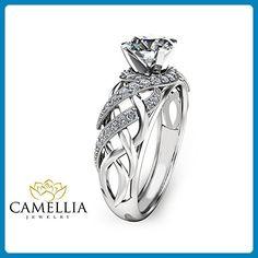Unique Moissanite Engagement Ring Solid 14K White Gold Ring Art Deco - Wedding and engagement rings (*Amazon Partner-Link)