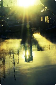 boats, sun, reflection - love that light