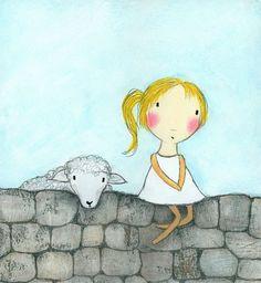 Grafik Girl und Schafe von carlasonheim auf Etsy