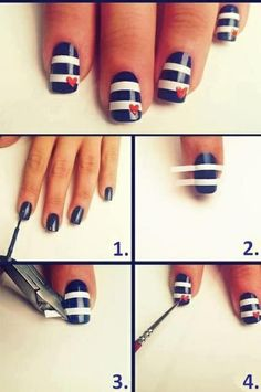 Cute nail art design. Wearable for July 4th as well! Head over to Pampadour.com for beauty product suggestions to recreate this design! #nails #nailpolish #polish #nailart #naildesign #july4 #july4th #howto #tutorial #beauty #pampadour