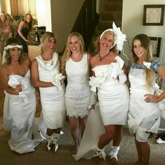 The finished product of the toilet paper wedding dress game!