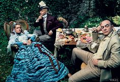 """One of my favourite Vogue photoshoots :-)    In one of Vogue's most ambitious shoots, photographer Annie Leibovitz and editor Grace Coddington reimagined Natalia Vodianova as Alice, with milliner Stephen Jones as the Mad Hatter, and designer Christian Lacroix as the March Hare, 2003. Says Leibovitz: Coddington is """"the best fashion editor in the world."""""""