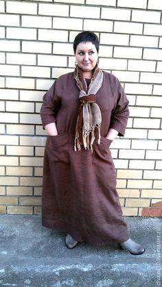 Платья ручной работы. Ярмарка Мастеров - ручная работа. Купить Платье коричневое. Handmade. Коричневый, одежда для полных, лён