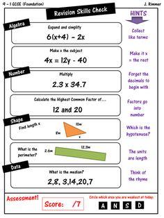 GCSE Maths Revision Foundation SKILLS CHECK STARTERS (set of 10)