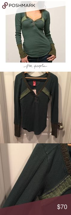 """Free People Nordic Nuzzle Henley Free People Nordic Nuzzle Henley. Tag calls the color Dark Teal, but to me it is definitely a forest green color. 18"""" bust. 25"""" long with a rounded hem longer in the middle part. New with tags. No trades. Feel free to make an offer or bundle & save! Free People Tops"""