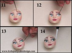 Elsa Face Tutorial - CakesDecor Such a beautiful face. Cake Topper Tutorial, Fondant Tutorial, Frozen Theme, Frozen Cake, Cake Decorating Techniques, Cake Decorating Tutorials, Elsa Frozen, Elsa Face, Fondant People