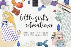 Little girl's adventure   watercolor by likorbut on @creativemarket