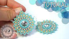 Tutorial Perline: Orecchini SUNFLOWER con rivoli e cipollotti |Beading T...