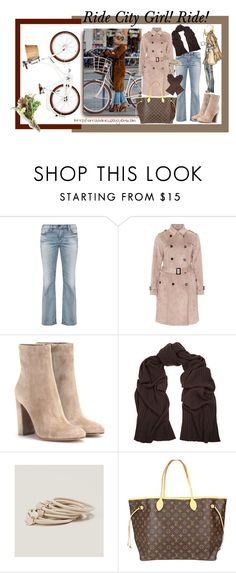 """""""Inspiration Look - City Girl Cycle"""" by virtudiaries ❤ liked on Polyvore featuring Silver Jeans Co., Gianvito Rossi, Jil Sander, LOFT, Louis Vuitton, Dents, plussizefashion, plussizestyle and curvyfashion"""