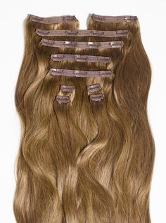"""The Classic 20"""" set - Estelles Secret clip in hair extensions comes in a full head set of 10 pieces. Perfect for normal to thick hair. To find your shade visit EstellesSecret.com #EstellesSecret #clipinhairextensions"""