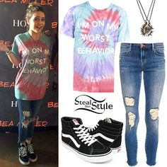 Bea Miller poses with fans in San Jose wearing a Jac Vanek Worst Behavior Unisex Perfect Tee ($20.00), her J Brand 8226 Cropped Skinny Jeans ($167.00), a necklace from the Claire's 2 Pack Best Friends Magnetic Sun Necklace (£7.00) and a pair of Vans SK8-Hi Core Classics ($60.00).